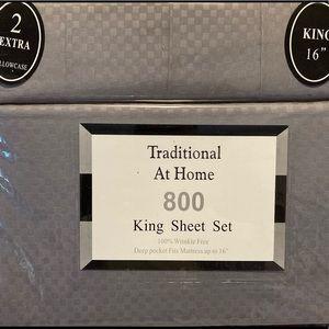 Traditional At Home 6pc King Sheet Set Gunmetal